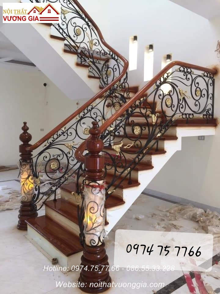 cầu thang đẹp cho nhà ống - nội thất vương gia