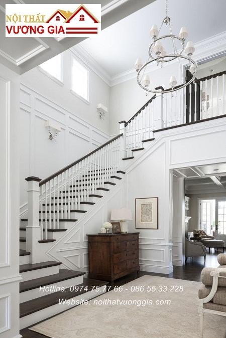 Cầu thang gỗ cổ điển nội thấy vương gia