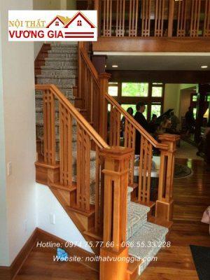 Cầu thang gỗ con tiện cnc nội thất vương gia