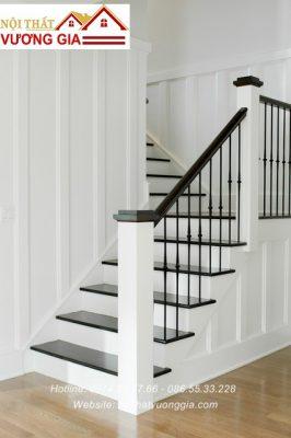 Cầu thang sắt song nghệ thuật quả trám nội thất vương gia