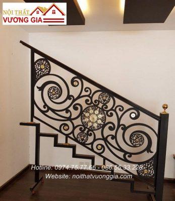 Báo giá cầu thang sắt tay vịn gỗ tại bắc ninh nội thất vương gia