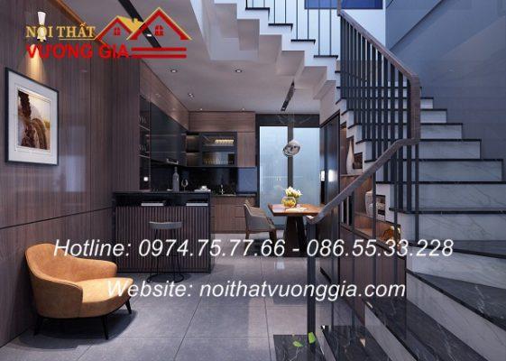 Cầu thang sắt tay vịn gỗ tại Hà Nội