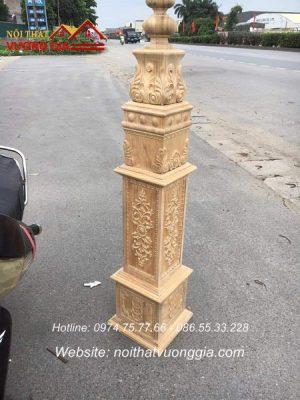 báo giá trụ cái cầu thang gỗ Lim mẫu mới giá rẻ