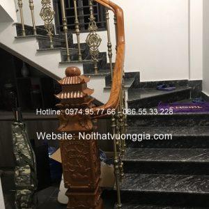 cầu thang nhôm đúc nhập khẩu tay vịn gỗ Lim