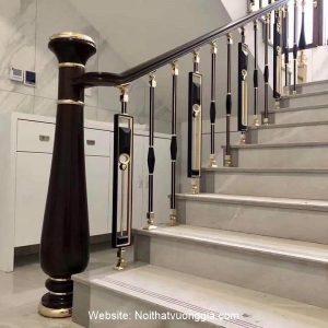 Cầu thang nhôm đúc luxury